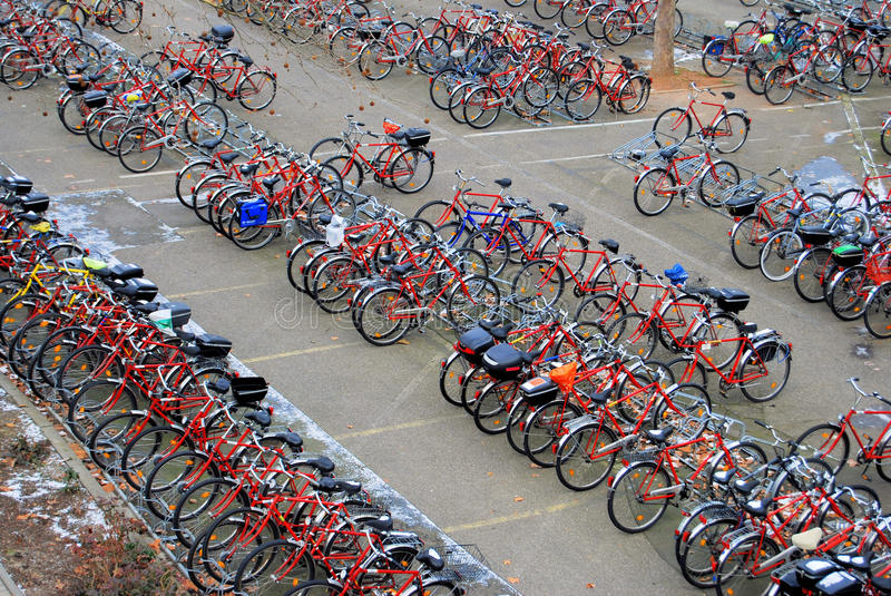 Bicycle Parking Lot. Many bicycles on a parking lot royalty free stock images