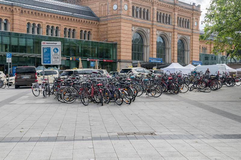 Bicycle parking near Hannover Hauptbahnhof main railway station of Hannover royalty free stock image