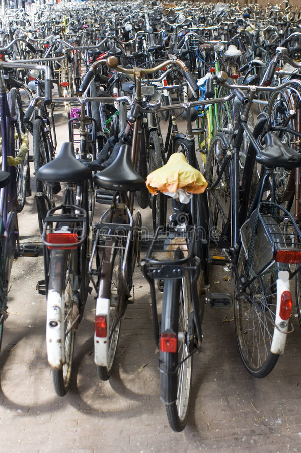 Bicycle parking at the railway royalty free stock photo