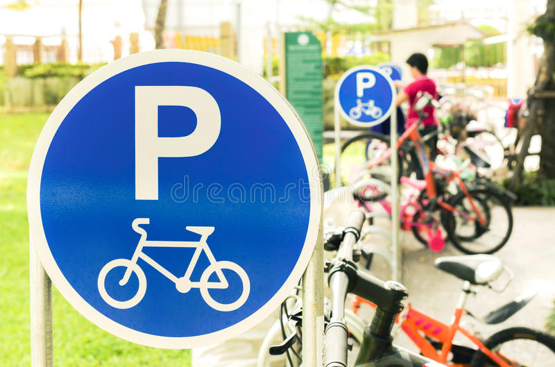 Bicycle parking sign in the park royalty free stock photo