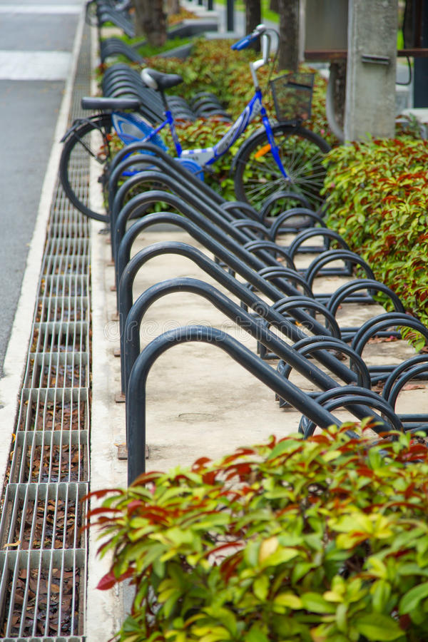 Bicycle parking slot in The public park. stock image