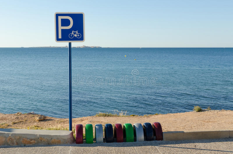 Bicycle parking space royalty free stock photos