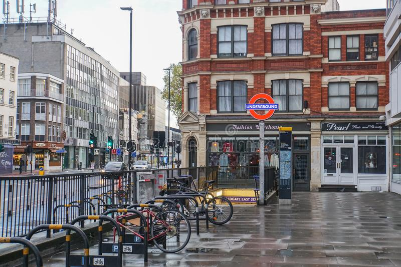bicycle parking at underground station in London stock image