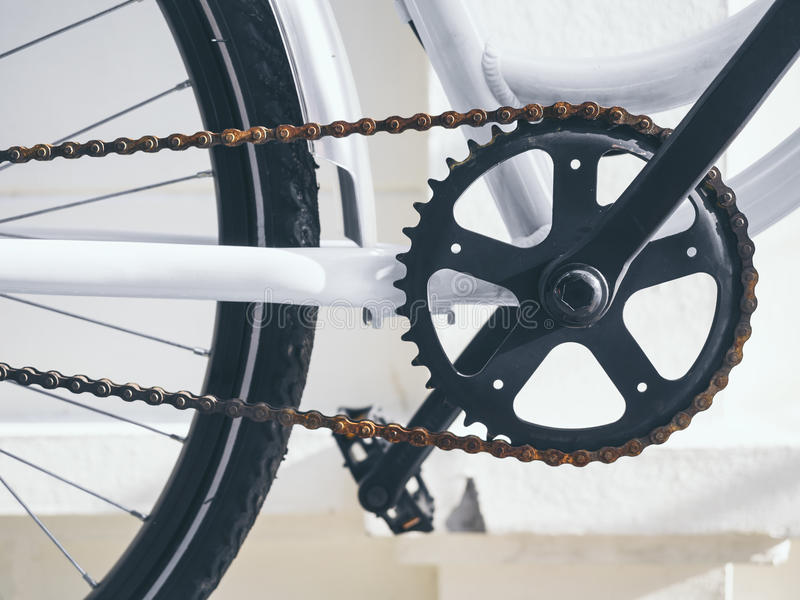 Bicycle Parts Crank and chain set with pedal stock photography