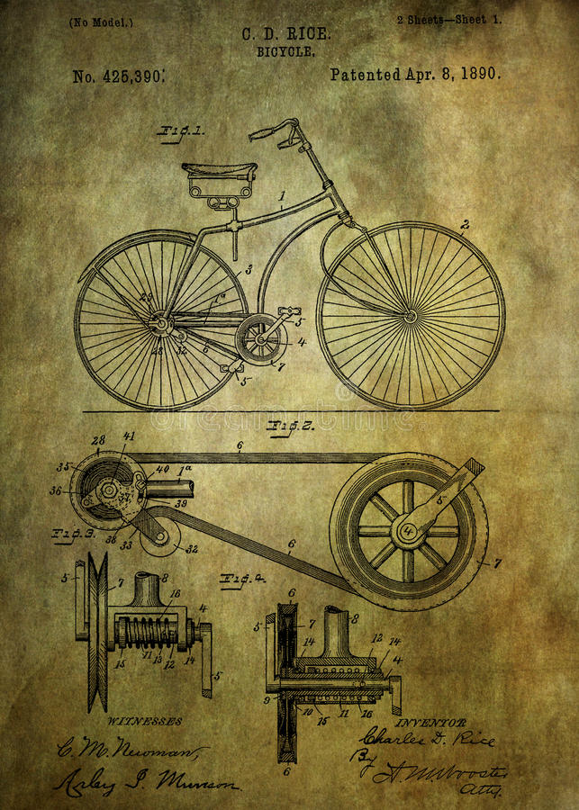 Free Bicycle Patent From 1890 Royalty Free Stock Photography - 58908147