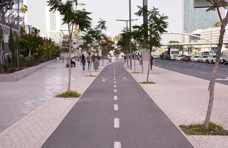 Bicycle path in a big modern city stock photo