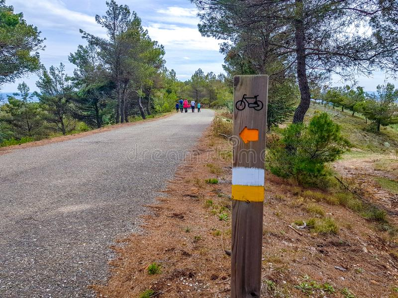 Bicycle path through the park, the sign on a wooden landmark nailed to the ground with forest background and people with backs to. Walk asphalt blue curve stock image