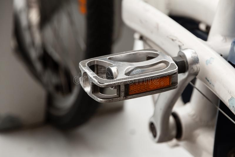 Bicycle pedal close up. parking rental bicycles royalty free stock photo