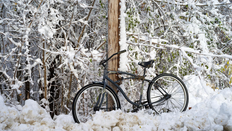 Bicycle propped on telephone pole. An old bicycle propped up against a telephone pole after a winter snowstorm stock images