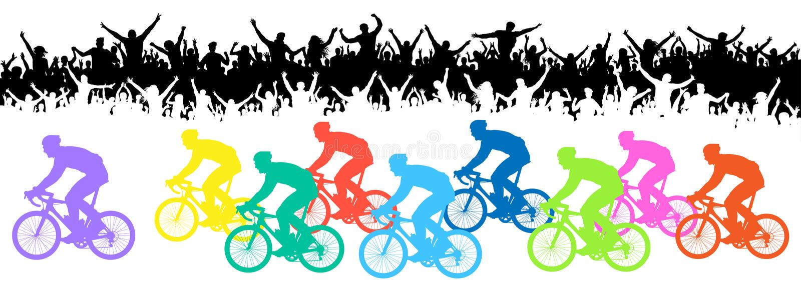 Bicycle race. Crowd of fans, silhouette. Sport event banner. Bicycle race. Crowd of fans, silhouette. Sport event banner vector illustration