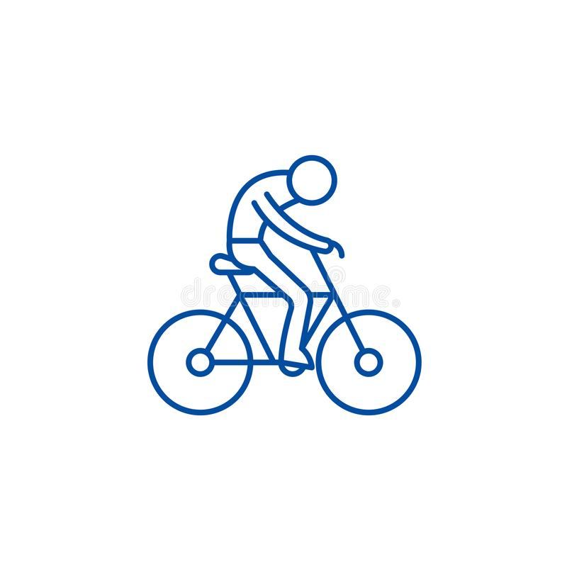 Bicycle race line icon concept. Bicycle race flat  vector symbol, sign, outline illustration. stock illustration