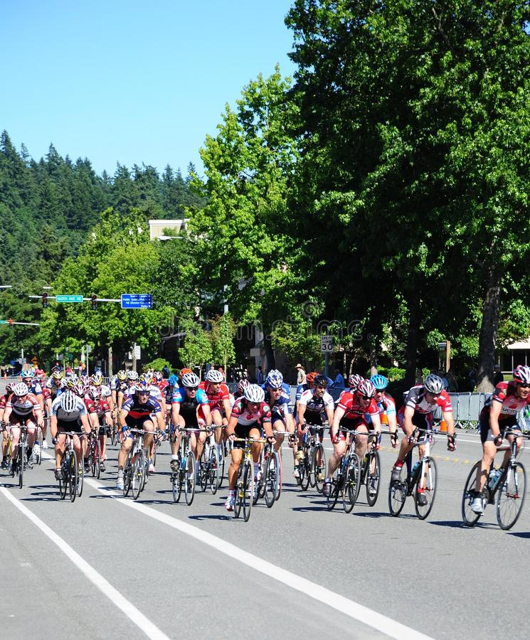 Bicycle racers. JULY 12, 2008. SEATTLE, WA. CIRCA: Bikers racing in the annual bicycle sport in Seattle, Wa royalty free stock photography