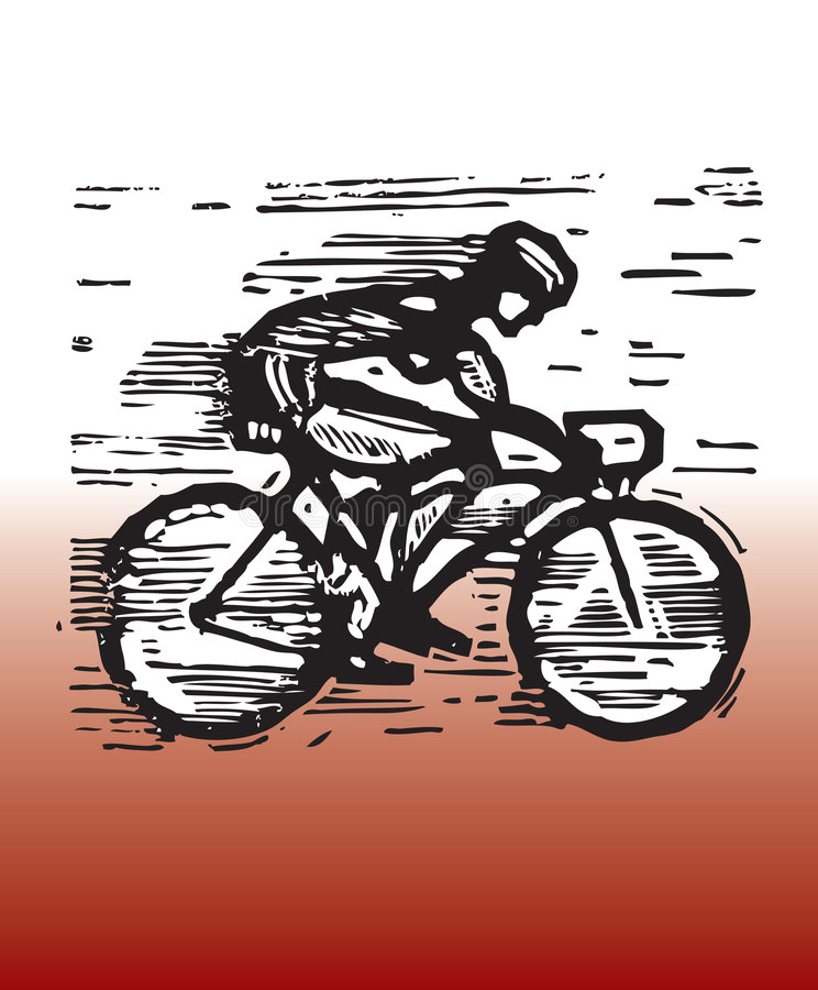 Bicycle racing. Hand drawn illustration of bicycle racing vector illustration