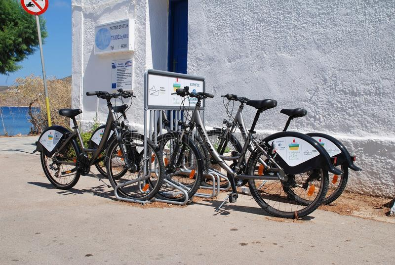 Bicycle rank, Tilos island stock photo