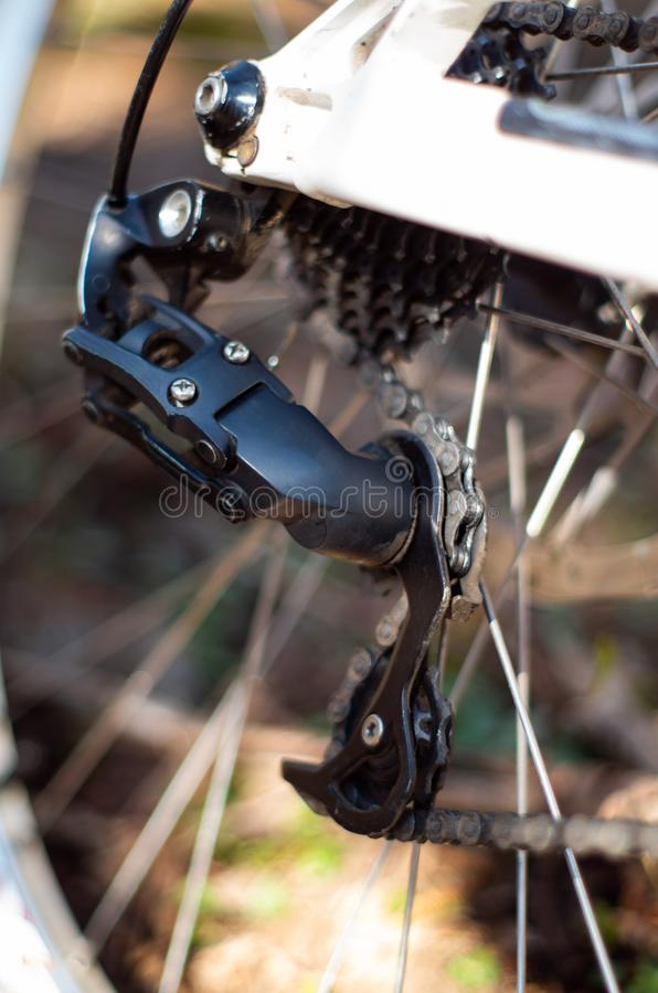 Bicycle rear derailleur royalty free stock images