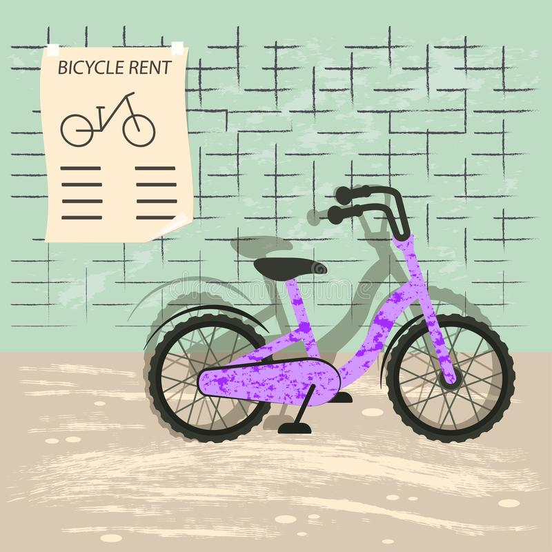 Bicycle rent illustration royalty free illustration