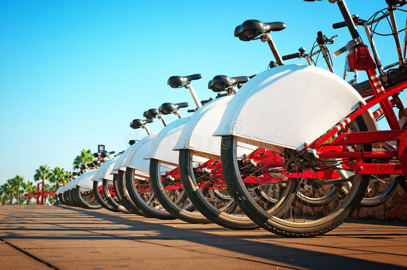 Bicycle rental in Barcelona, Spain royalty free stock photography