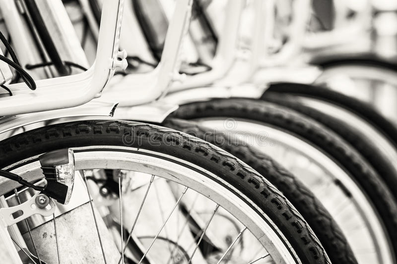 Bicycle rental in the centre of Budapest, black and white. Bicycle rental in the centre of Budapest, Hungary. Urban bikes. Modern lifestyle theme. Black and stock images