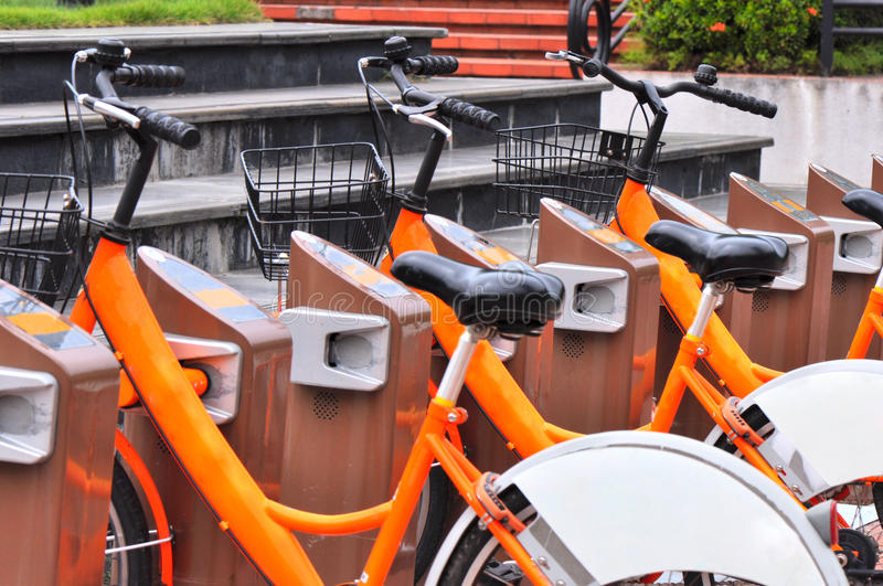 bicycle rental station stock images