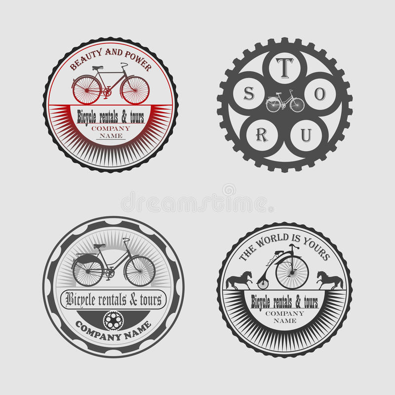Bicycle rentals & tours. Set of labels bicycle, icons, stickers and tools for designers stock illustration