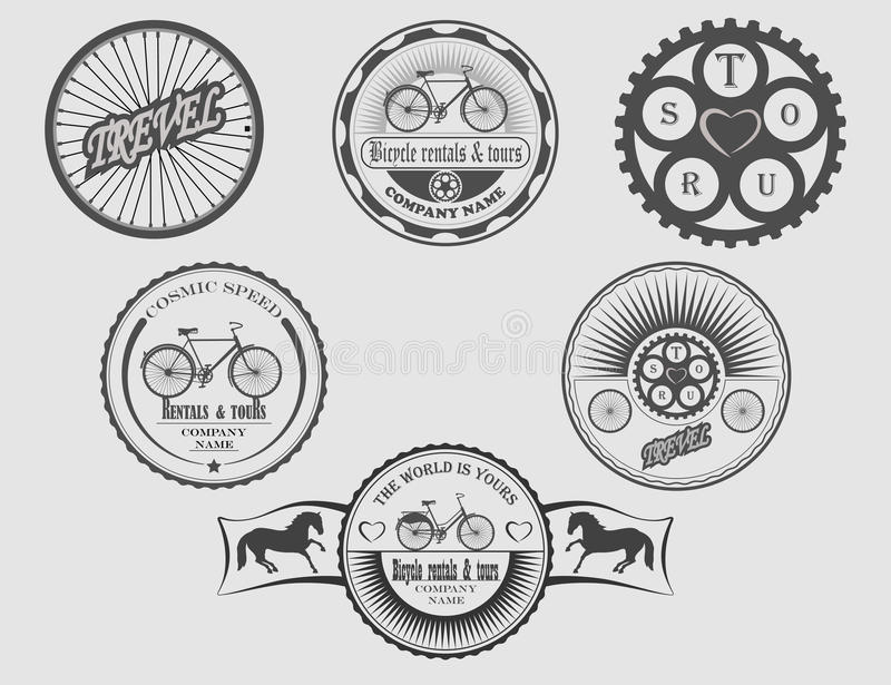 Bicycle rentals & tours. Set of labels bicycle, icons, stickers and tools for designers vector illustration