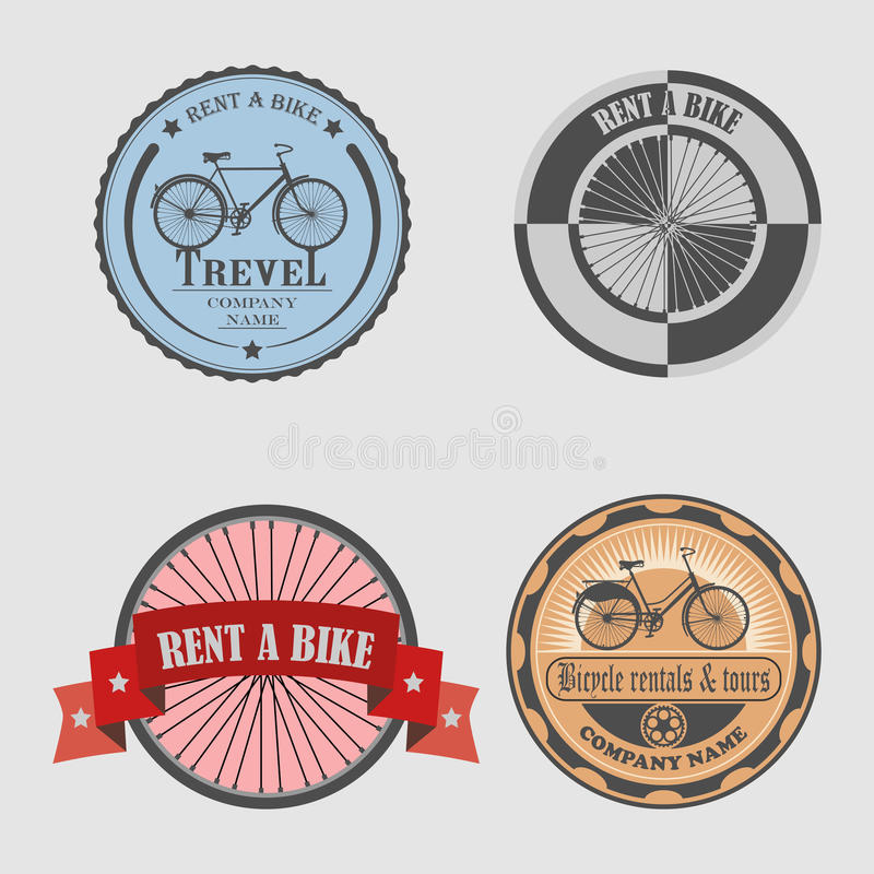 Bicycle rentals & tours. Set of labels bicycle, icons, stickers and tools for designers royalty free illustration