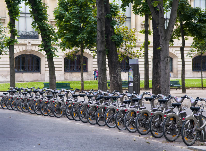 Bicycle renting. Station, Paris France royalty free stock photos