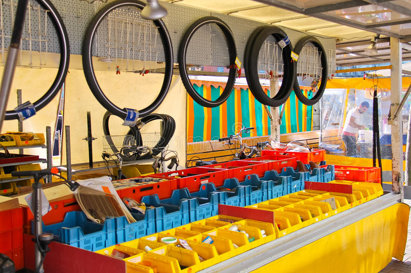 Bicycle repair shop in Dordrecht, Netherlands royalty free stock photo