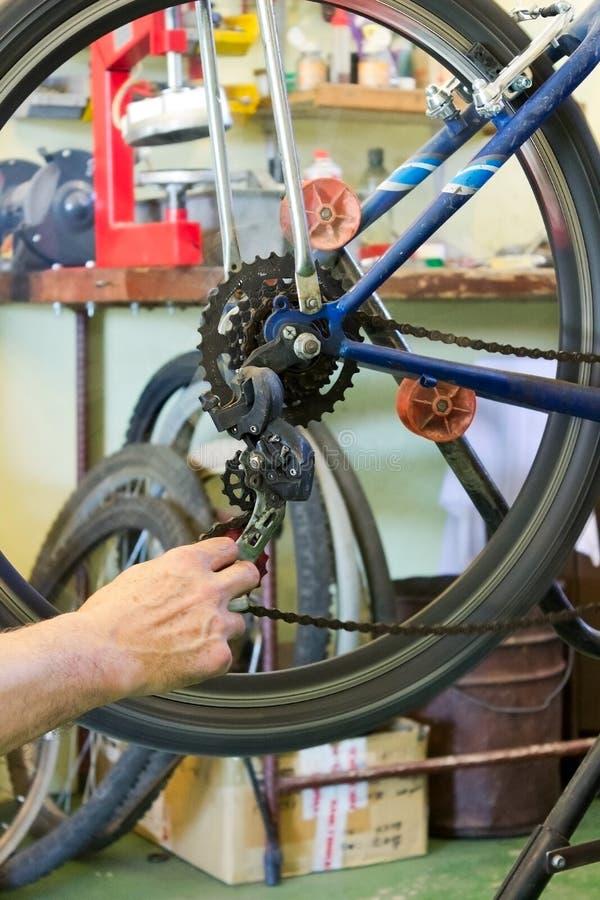 Bicycle repairs stock image