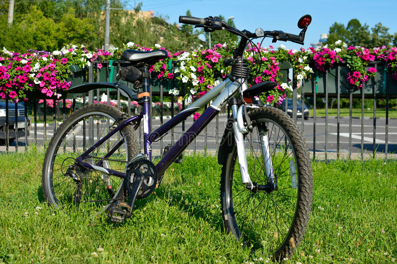 Bicycle on a rest. Bicycle with flowers and street on the background, 2015 royalty free stock photos