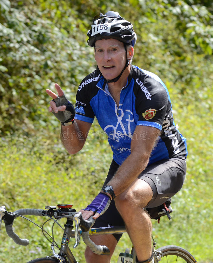 Bicycle Rider Signaling During an event royalty free stock images