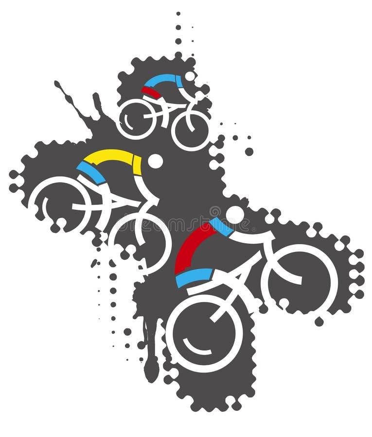 Bicycle riders, mountain bike extreme sports. stock illustration