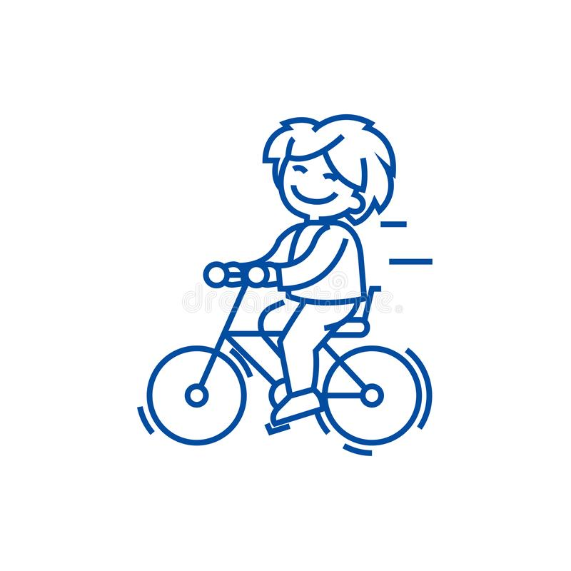 Bicycle, riding boy line icon concept. Bicycle, riding boy flat  vector symbol, sign, outline illustration. vector illustration