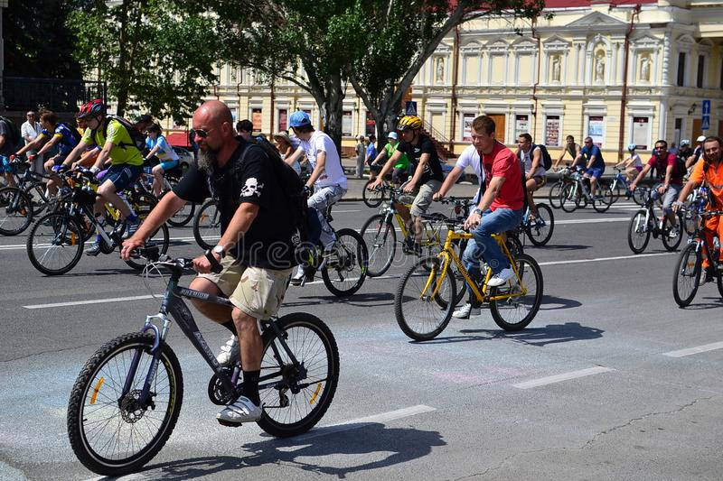 Bicycle riding. Cycling, the sport accessible to all. Russia, Volgodonsk - June 30, 2015: Bicycle riding. Cycling the sport accessible to all stock photography