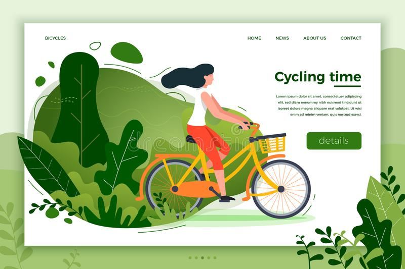 Bicycle riding girl. Park, forest, trees and hills stock illustration