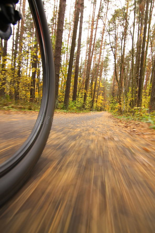 Bicycle riding, low angle motion blur stock image