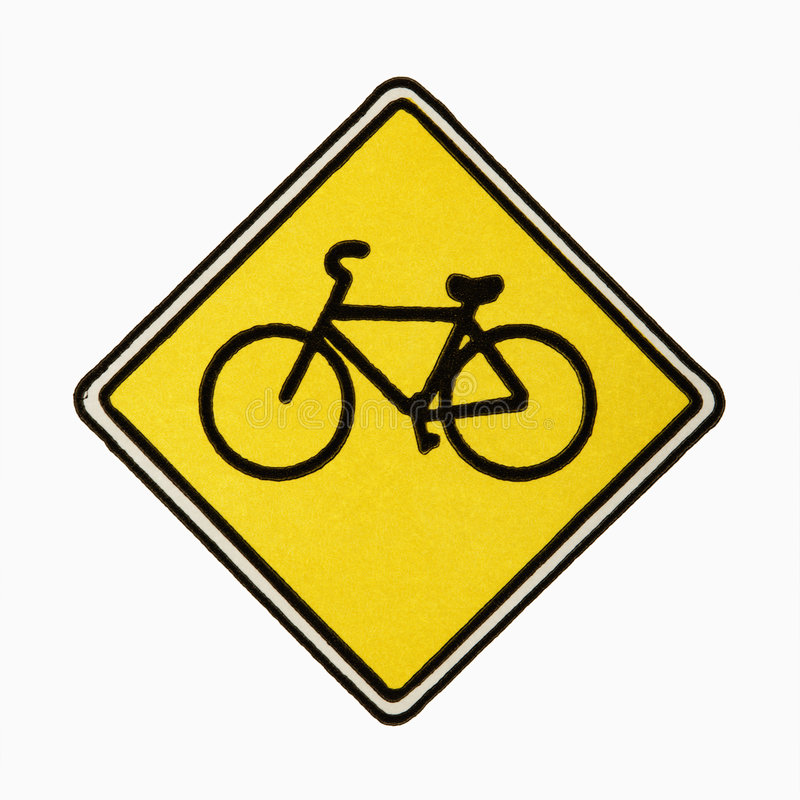 Bicycle road sign. stock images
