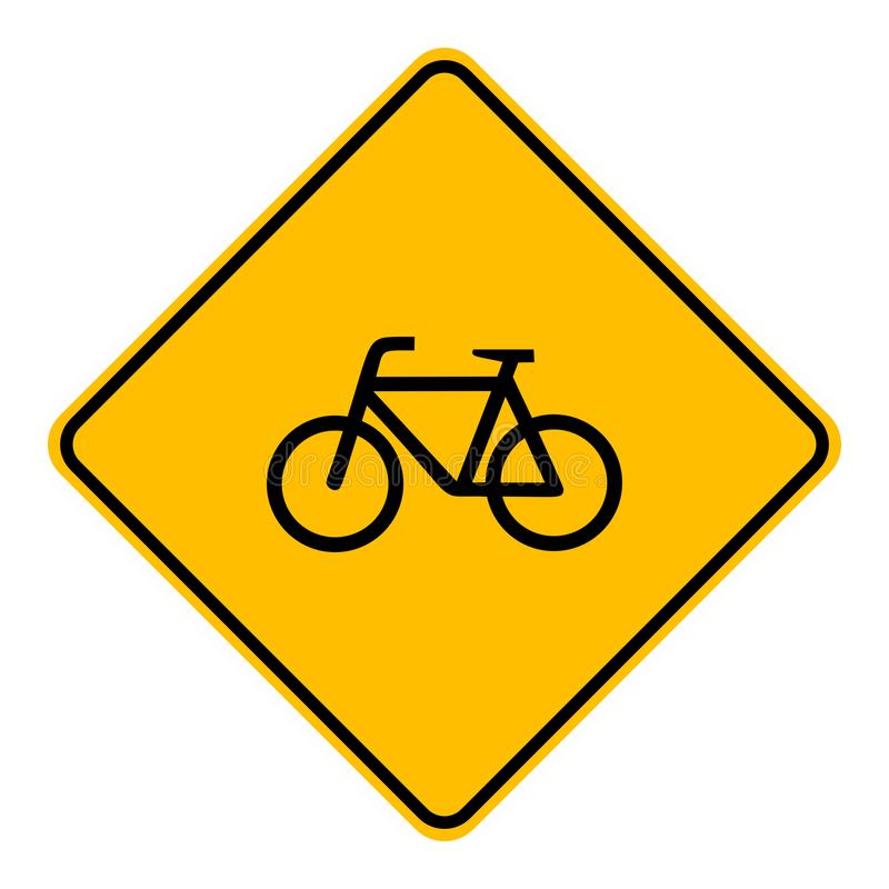 Bicycle and road sign. As vector illustration royalty free illustration
