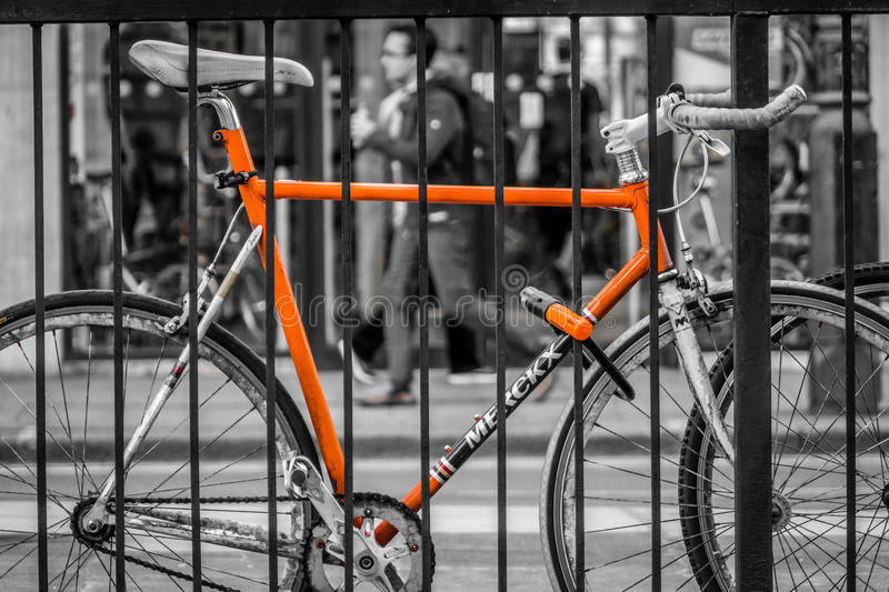 Bicycle secured royalty free stock image