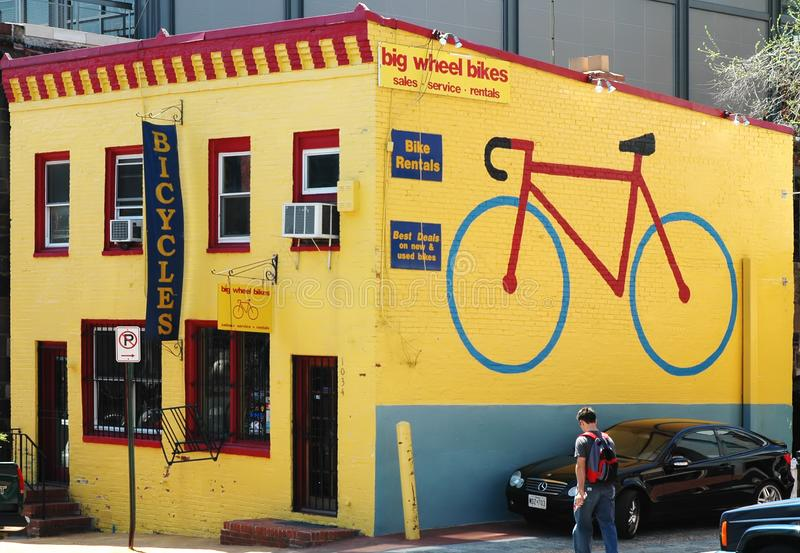 Bicycle sell and repair store royalty free stock images