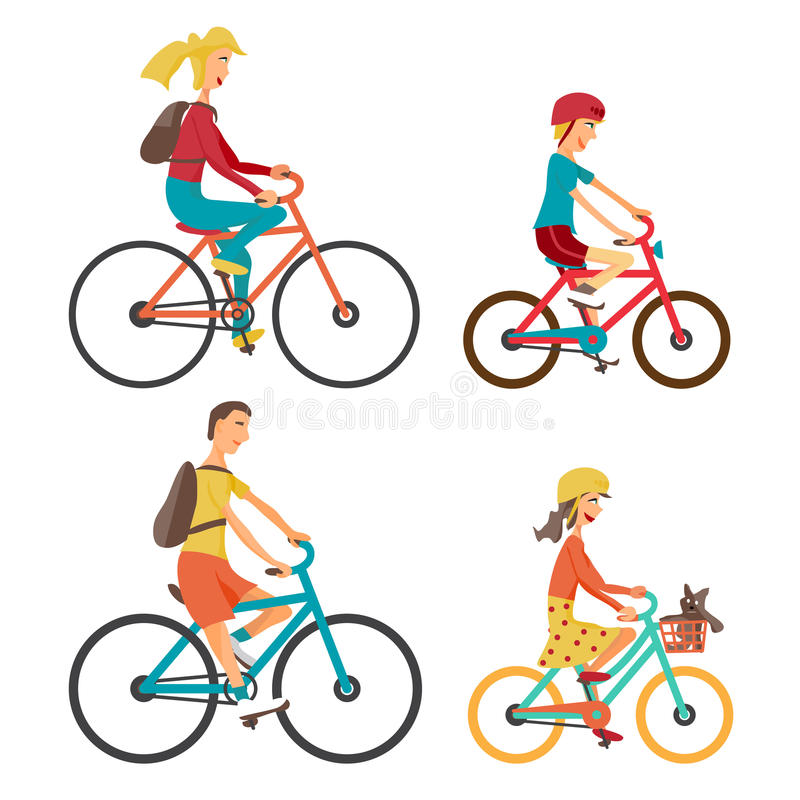 Bicycle Set for family ride. Set man, woman, boy and girl. On bicycle on an isolated white background. Bike for man, woman, boy, girl. Vector flat cartoon stock illustration