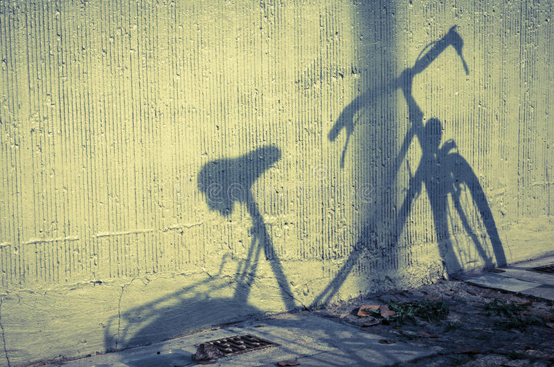 Bicycle shadow stock photo. Image of antique, street - 34303530