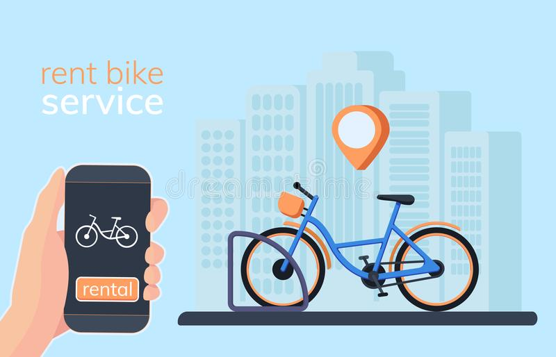 Bicycle sharing system with use smartphone for rent and paid. stock illustration