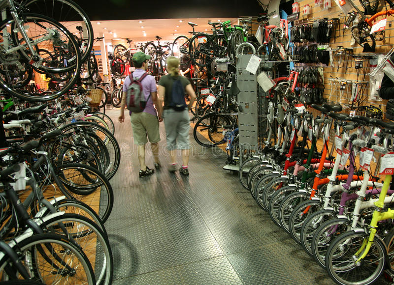 Bicycle shop stock photography