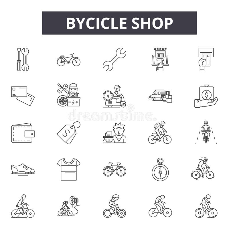 Bicycle shop line icons for web and mobile design. Editable stroke signs. Bicycle shop  outline concept illustrations royalty free illustration
