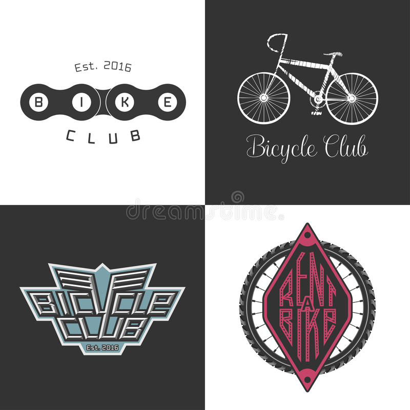 Bicycle shop, rent a bike, bicycle repair set of vector logo, icon royalty free illustration