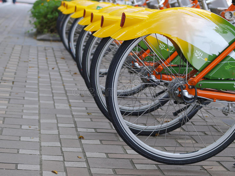 Bicycle in sidewalk stock photography