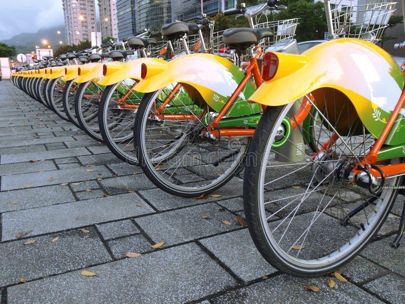 Bicycle in sidewalk stock photo