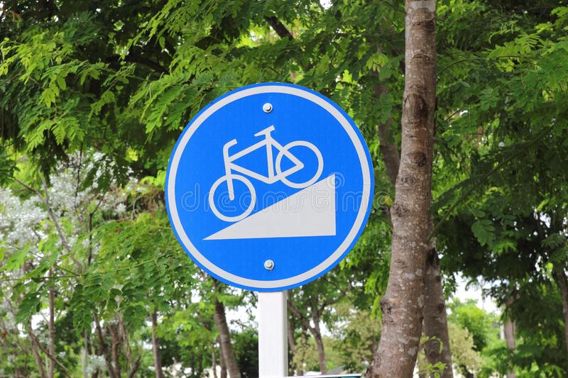 Bicycle sign, Bicycle Lane in public park royalty free stock images