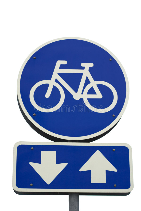 Free Bicycle Sign With Arrows Royalty Free Stock Photography - 4239107